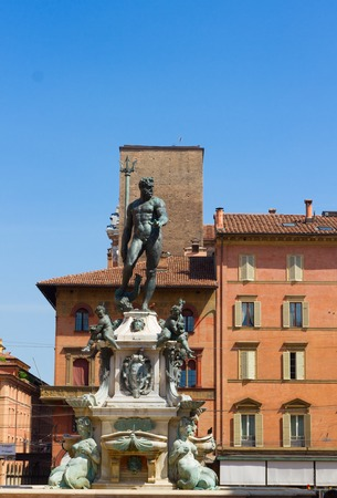 neptuno: famouse medieval Fountain of Neptune, Bologna, Italy