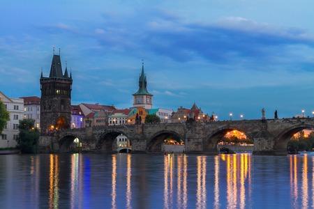vltava: Charles bridge over river Vltava at blue night, Prague, Chech Republic