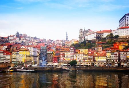 portugal: Douro river embankment and  old Oporto, Portugal, retro toned