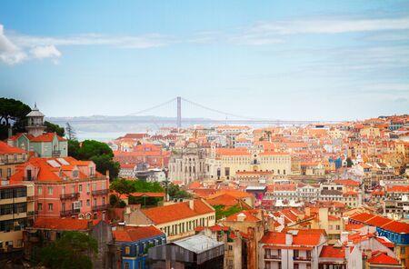 bairro: skyline of  Lisbon over old town quarters, Portugal, retro toned
