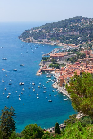 villefranche sur mer: coast and turquiose water of cote dAzur, France Stock Photo