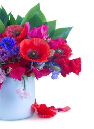 arreglo floral: Amapola, dulce de guisantes y maíz flores en maceta aislados en fondo blanco