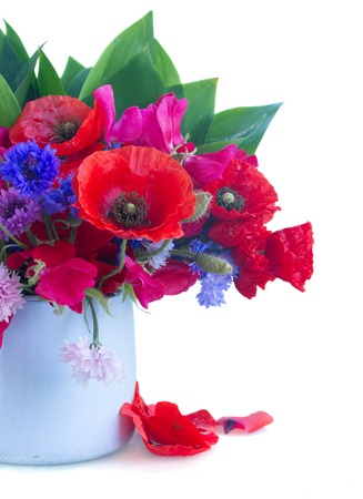 arrangement: Poppy, sweet pea and corn flowers in pot   isolated on white background