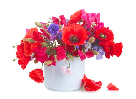 red poppies on green field: Poppy, sweet pea and blue corn flowers in pot   isolated on white background Stock Photo