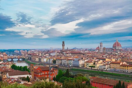 florence italy: cityscape of Florence old town from above,  Italy