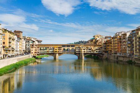 arno: Ponte Santa Trinita  ans Ponte Veccio bridges over the Arno River, Florence, Italy Stock Photo