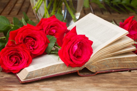 historias biblicas: Vintage old book  on table with fresh red roses