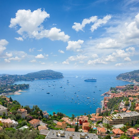 villefranche sur mer: Lanscape of coast and turquiose water of cote dAzur, France