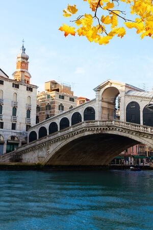 rialto: view of  famouse Rialto bridge at fall day, Venice, Italy