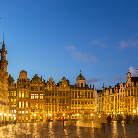 guildhalls: View of illuminated Grand Place  town square at night, Brusseles, Belgium