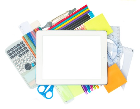 emty: tablet with emty screen and school supplies isolated on white background Stock Photo