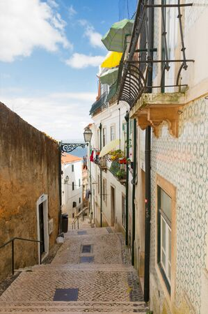 chiado: street with stairs in old town Alfama of Lisbon, Portugal