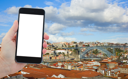 part of me: travel concept with skyline of old town of Porto, Portugal