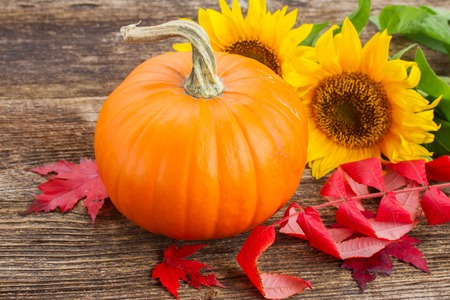 one orange pumpkin with sunflowers and red fall leaves on wooden textured  table Archivio Fotografico