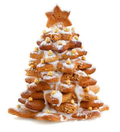 stars symbols: gingerbread christmas tree isolated on white background Stock Photo