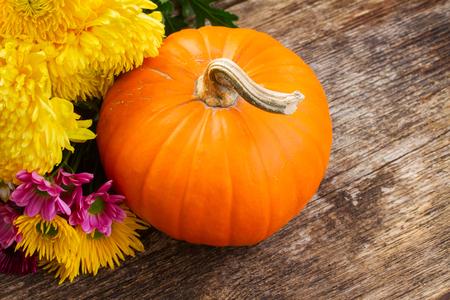 pumpkin patch: one orange pumpkin with chrisantemum flowers  on wooden textured  table