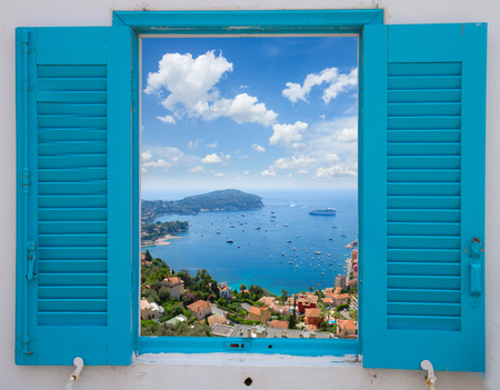 villefranche sur mer: provence window with view of  cote dAzur, France