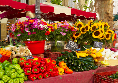 Provence market with local food and flowers