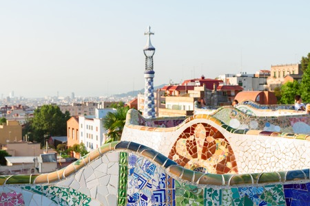 barcelone: Vue de Barcelone du Parc Guell, Espagne