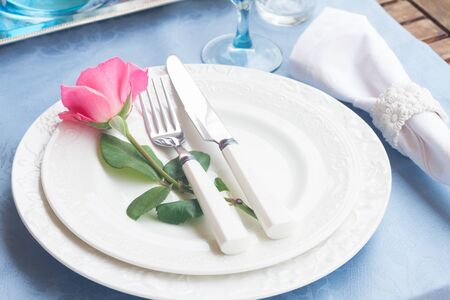 utencils: Tableware - set of plates, cups and utencils with rose