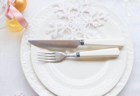utencils: Tableware for christmas - set of plates  and utencils