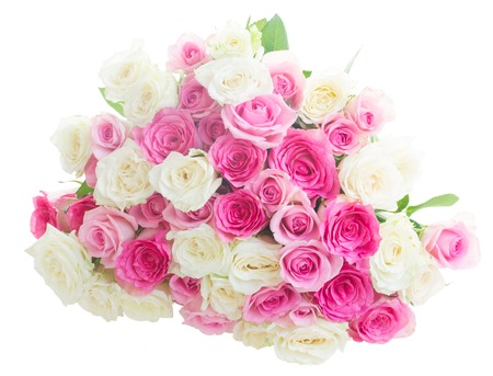 solated on white: bunch of pink and white fresh roses  solated on white background Stock Photo