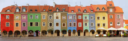 old building facade: crooked medieval  houses  on the central market square in Poznan, PolandPoznan, Poland Stock Photo