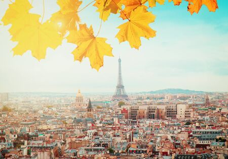 skyline of Paris city with eiffel tower from above at sunny autumn day, France, retro toned