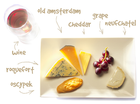 oscypek: cheese plate -  cheddar, oscypek, roquefort, old amsterdam and neufchatel cheese - with wine Stock Photo