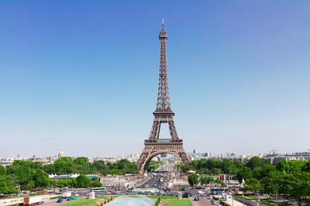 tower house: Eiffel Tower and Paris skyline in summer sunny day, France