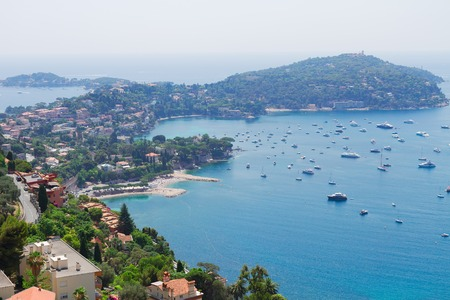 villefranche sur mer: lanscape of coast and turquiose water of cote dAzur, French Riviera, France