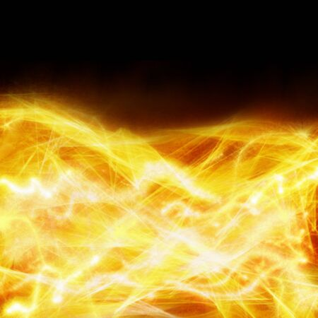 plazma: abstract fire border on black background with  beams and sparkles Stock Photo