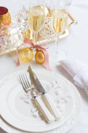 utencils: Tableware set for christmas - set of plates, cups and utencils