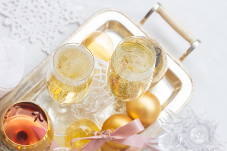 champagne: Two glasses of new year champagne with bubbles, top view