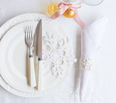 utencils: Tableware for christmas - set of white plates with decorations  and utencils