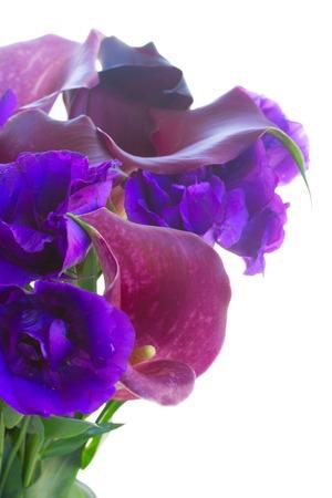 calas blancas: Calla Lilly y flores eustoma cerca aisladas sobre fondo blanco