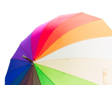 rainbow umbrella: Open Rainbow umbrella close up isolated on white background