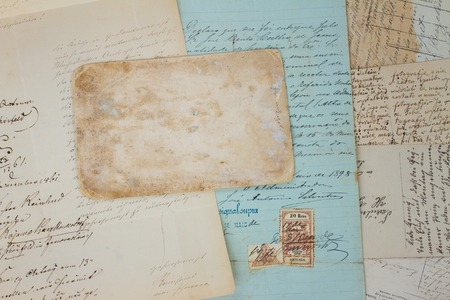 copy sapce: Set of handwritten antique letters close up and copy sapce on empty antique paper