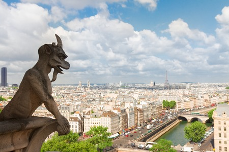 gargouille: Gargoyle of Paris on Notre Dame Cathedral church and Paris cityscape, France