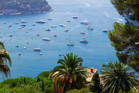 villefranche sur mer: lanscape of coast and turquiose water of cote dAzur, Riviera, France Stock Photo