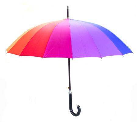 arco iris: Abra el paraguas del arco iris con mango aislado en fondo blanco Foto de archivo