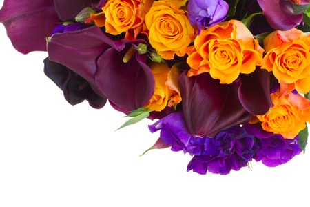 flores moradas: Bouquet of calla lilly, roses and eustoma flowers border isolated on white background