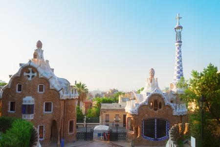 barcelone: vue sur le parc Guell et Barcelone horizon, Espagne