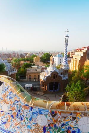 gaudi: Gaudi bench and cityscape of Barcelona,  Spain Stock Photo