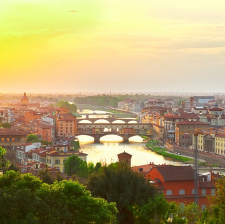 ponte: famous bridge Ponte Vecchio at sunset from above, Florence, Italy