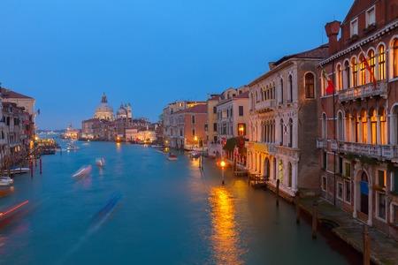 grand canal: Basilica Santa Maria della Salute and Grand Canal at blue at night, Venice, Italy