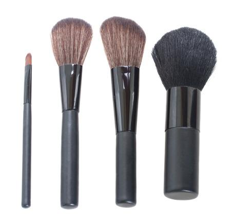 make up brushes: row of  make up brushes  isolated on white background Stock Photo