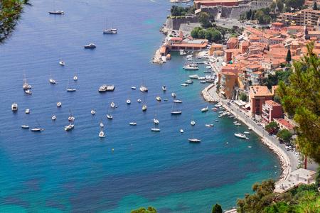 villefranche sur mer: landscape of coast and turquiose water of cote dAzur, Riviera, France