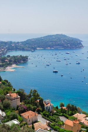 villefranche sur mer: landscape of coast and turquiose water of cote dAzur, French Riviera, France