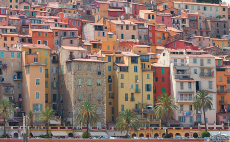 cote d'azur: facades of colorful houses of Menton old town, France Stock Photo